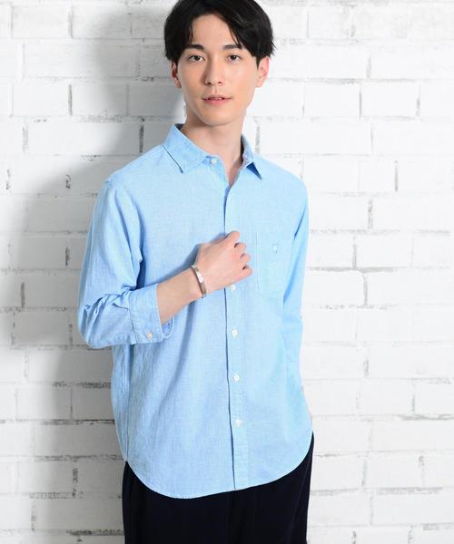 綿麻千鳥柄7分袖シャツ