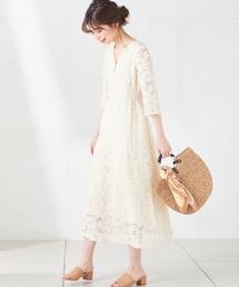 natural couture(ナチュラルクチュール)のフラワーレースレディワンピース(ワンピース)