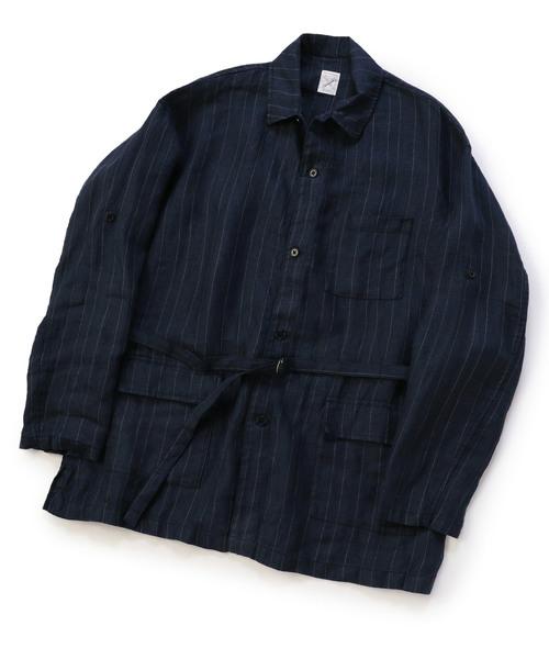 ベルテッドシャツジャケット/リネン100%