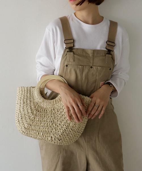 VitaFelice(ヴィータフェリーチェ)の「かごバッグ ウッドハンドルかごバッグ 新作 レディース かごバッグ カゴバッグ かごトートバッグ 編み込み 手編み 夏バッグ(かごバッグ)」|アイボリー