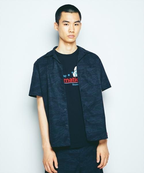 TIGER STRIPE総柄 半袖オープンカラーシャツ【ドットエアー】