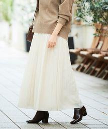 le.coeur blanc(ルクールブラン)のカッセンデシンギャザーマキシスカート(スカート)