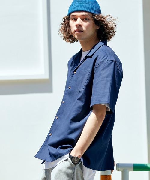 パナマ織り 綿麻ストレッチオープンカラー半袖シャツ