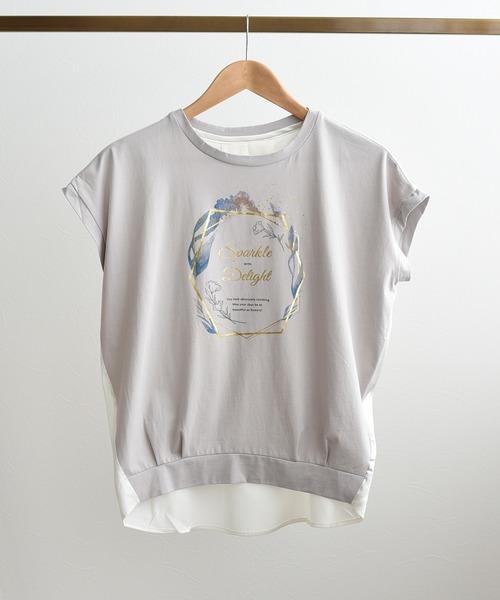 ロゴプリント異素材切り替えTシャツ