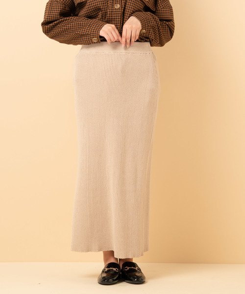 ラメリブニットスカート