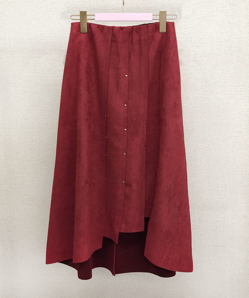 【Eimee Law】リベットポイントスエードボンディングスリットスカート