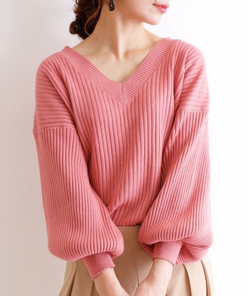 Sawa a la mode(サワアラモード)の「シンプルなぽわん袖のリブニットトップス(ニット/セーター)」|ピンク