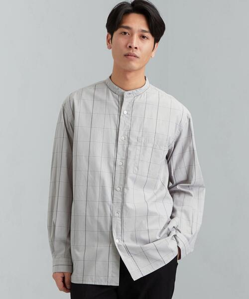 SC オーガニック ブロード バンドカラー 長袖 シャツ 羽織
