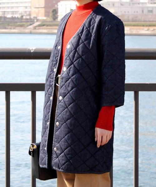 Denime(ドゥニーム)の「デニムキルティングコート(デニムジャケット)」|インディゴブルー