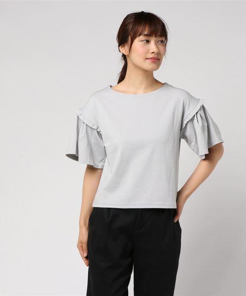 タックフリル袖カットソー