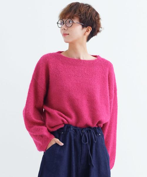 merlot(メルロー)の「パフスリーブニットプルオーバー1867(ニット/セーター)」|ピンク