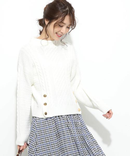 ViS(ビス)の「【ドラマ着用】裾メタルボタン開きケーブル柄プルオーバー(ニット/セーター)」 キナリ