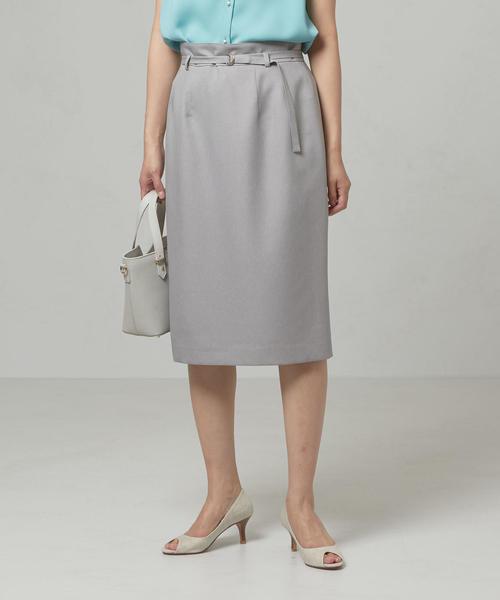 <closet story>□ベルト タックタイトスカート -手洗い可能-