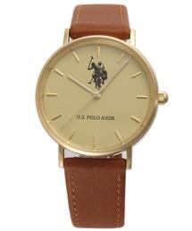 U.S. POLO ASSN.(ユーエスポロアッスン)の【U.S. POLO ASSN.】ユーエスポロアッスン 腕時計 ブラウンレザー 36mm クォーツ(アナログ腕時計)