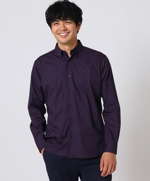 ダーク小紋柄スナップダウンシャツ