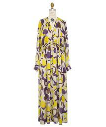 Drawer シルクプリントタックドレス