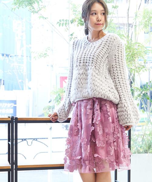 【美人百花掲載】3Dフラワーギャザーボリュームスカート