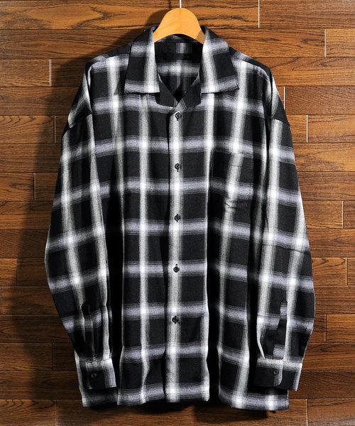 【neos -sellect design-】リラックス オープンカラー チェックシャツ