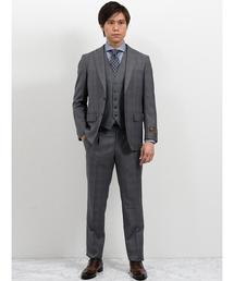 エムエフエディトリアルメンズ/m.f.editorial:Men mf×ATSURO TAYAMA ロロ ピアーナ/Loro Piana チェック柄グレー 3ピースセットアップビジネススーツ(セットアップ)
