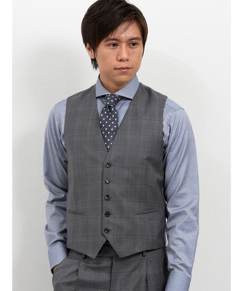 エムエフエディトリアルメンズ/m.f.editorial:Men mf×ATSURO TAYAMA ロロ ピアーナ/Loro Piana チェック柄グレー 3ピースセットアップビジネススーツ