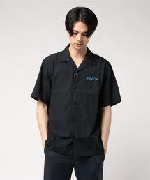 WILD CAT刺繍 半袖ボーリングシャツブラック系その他