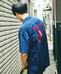 WILD CAT刺繍 半袖ボーリングシャツネイビー