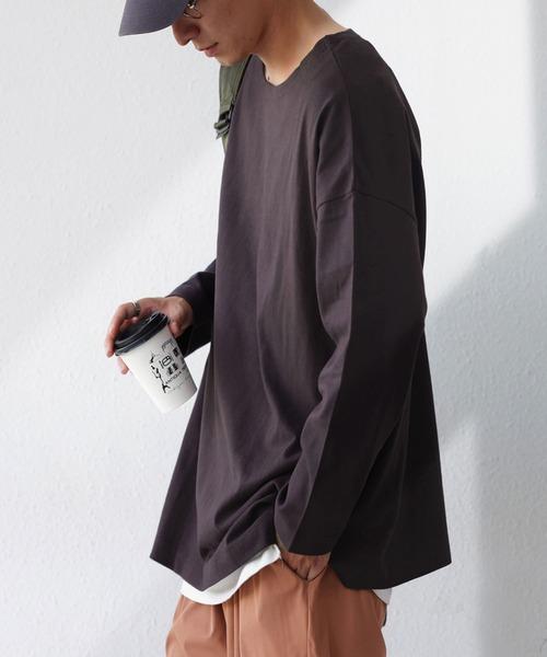 antiqua(アンティカ)の「バスク生地ロンT(Tシャツ/カットソー)」|アッシュグレー