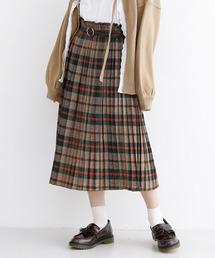 merlot(メルロー)のベルト付チェックプリーツスカート2009(スカート)