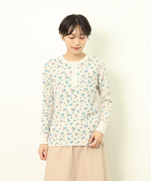 【HealthKnit/ヘルスニット】ベーシックワッフル花柄ヘンリーネック長袖Tシャツ 607L SIP