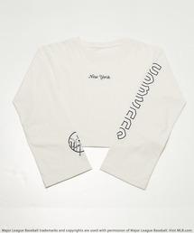 【MLB】スリーブロゴショート丈Tシャツオフホワイト