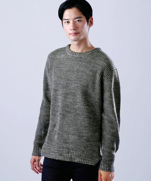 オーバーサイズスリットポップコーン編みニットセーター(ウールブレンド)