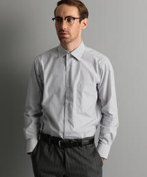 【WORK TRIP OUTFITS】 ワイドカラー マルチストライプ シャツ <スリムフィット>