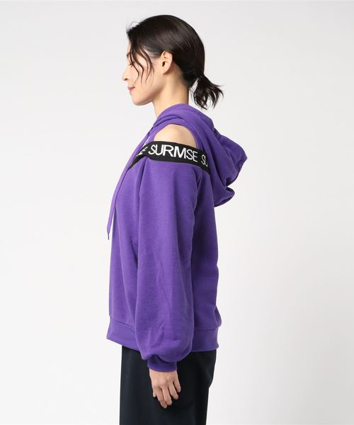 WEGO/肩開きリブロゴパーカー