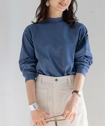 UVカット機能付きUSAコットンモックネックロングスリーTシャツ
