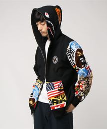 PATCHED SHARK FULL ZIP HOODIE M(パーカー)