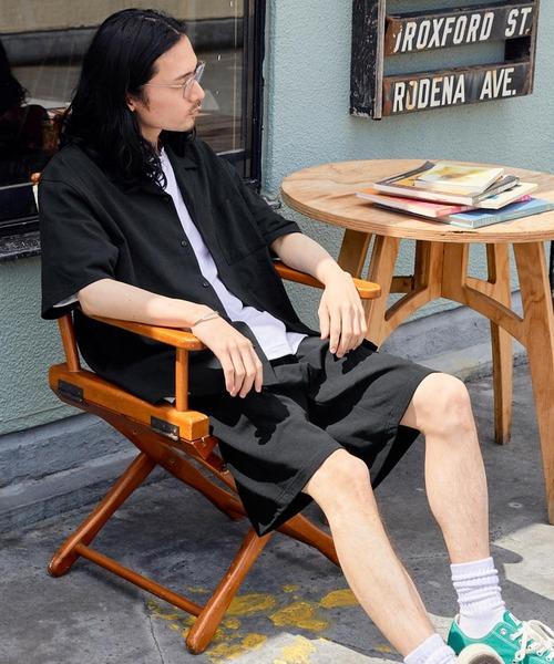 USAコットン オープンカラー半袖シャツ&ショートパンツ/セットアップ