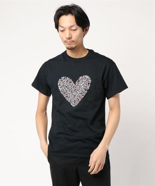 【Keith Haring/キースへリング】別注ハートTシャツ/ブラック/ユニセックス