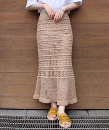 LAVEANGE(ラビアンジェ)の透かし編みニットロングスカート(スカート)