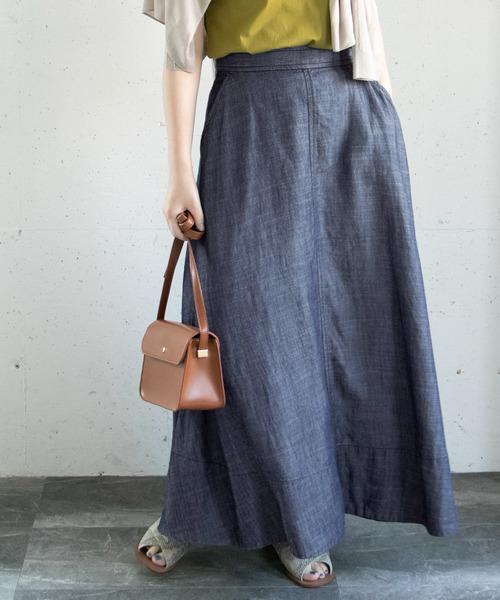 URBAN RESEARCH ROSSO WOMEN(アーバンリサーチ ロッソ)の「リネンデニムフレアースカート(デニムスカート)」|インディゴブルー