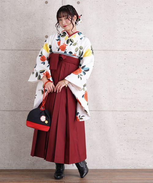 最安値で  袴セット 白地にニュアンスカラーの花, イソゴク 548765c9