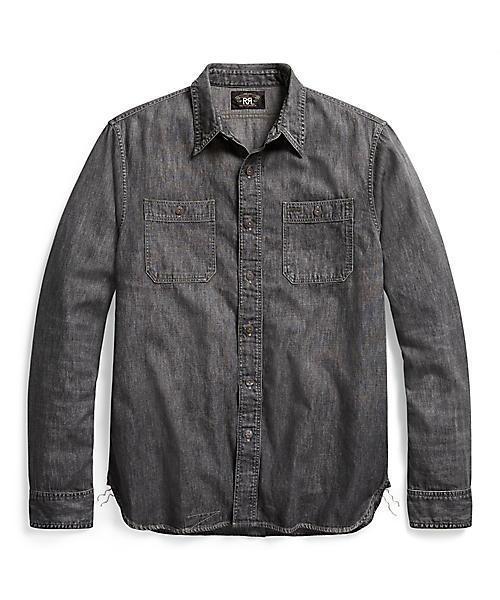 RRL Ralph Lauren(ダブル アールエル)の「デニム ワークシャツ(シャツ/ブラウス)」|ブラック×ホワイト
