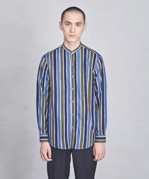 UAST ストライプ バンドカラー シャツ ◆