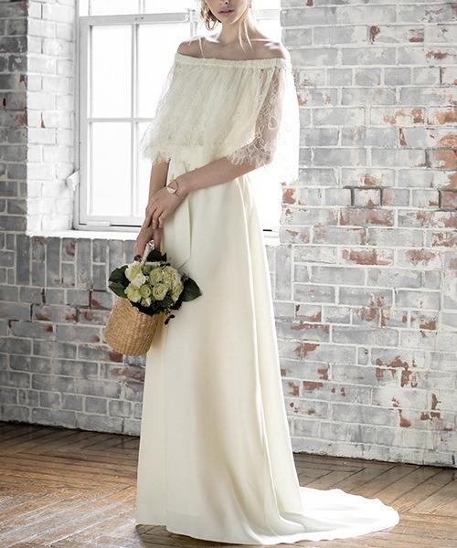 レースオフショルダーロングウェディングドレス , 結婚式・二次会・成人式・同窓会・謝恩会・お呼ばれ対応フォーマルパーティードレス