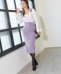 SMF フルフラン ハイウエスト ベルトタイト スカート