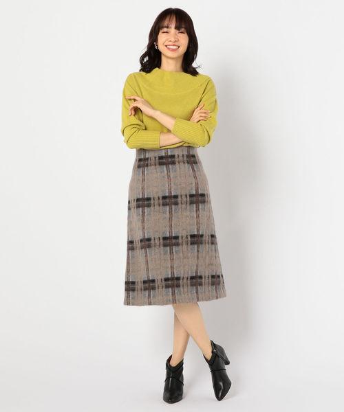 【オープニング大セール】 【セール】シャギーチェックトラペーズスカート(スカート)|NOLLEY