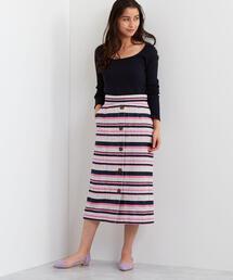 【EMMEL REFINES】SMF ツイードボーダーIラインスカート
