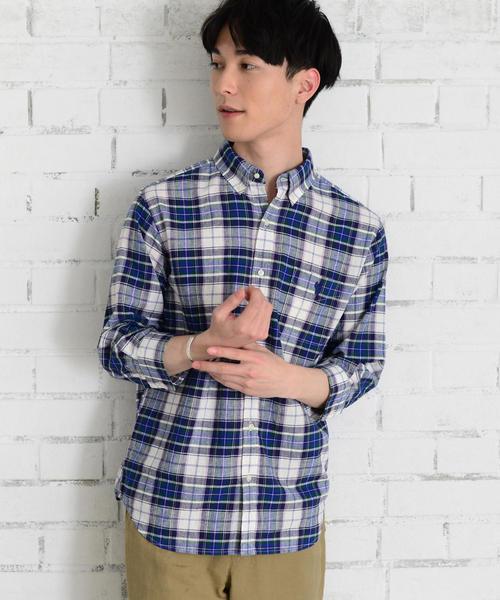 綿麻7分袖チェックシャツ