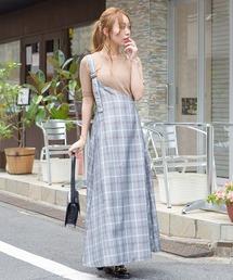 SpRay(スプレイ)の【WEB限定】チェックワンショルジャンパースカート(ワンピース)