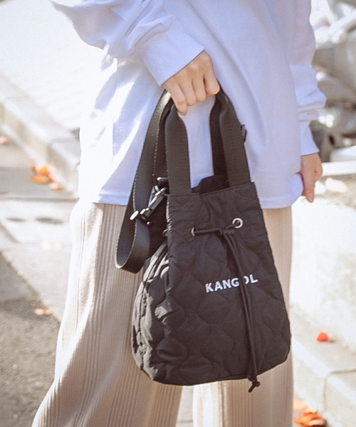 KANGOL(カンゴール)の「【KANGOL/カンゴール】キルティング巾着バッグ/2WAYバッグ/ショルダーバッグ(ショルダーバッグ)」|ブラック