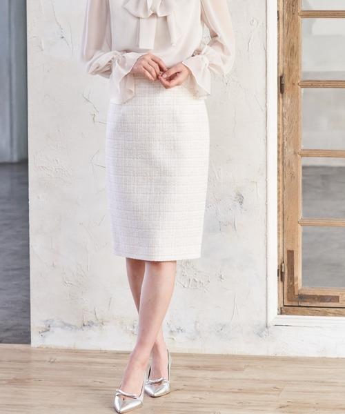リボンヤーンツイードタイト スカート